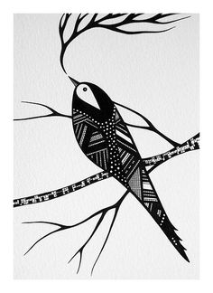 zentangle style bird on a limb.pen and ink illustration.swallow returns for summer Bird Illustration, Illustrations, Zentangle Patterns, Zentangles, Animals Watercolor, Watercolour, Stylo Art, Posca Art, Drawn Art