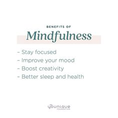 Mindfulness is using your five senses to bring you back to the present moment. It's a practice that you can use daily, and the more you try it, the better at it you will become. As you do, you will see many of these benefits show up in your life. Do you practice mindfulness? How have you seen it benefit your life? Benefits Of Mindfulness, Boost Creativity, Empowering Quotes, Your Back, Have You Seen, Stay Focused, You Tried, Health And Wellness, Improve Yourself