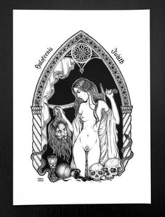 Judith with the head of Holofernes. Illustration by ikosidio. Black and white art print. Judith And Holofernes, White Art, Black And White, John The Baptist, Little Gifts, Cool Artwork, Dark Art, Painting Inspiration, Screen Printing