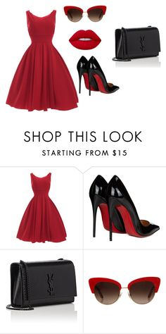"""***"" by irapanasuk ❤ liked on Polyvore featuring Christian Louboutin, Yves Saint Laurent, Dolce&Gabbana and Lime Crime"