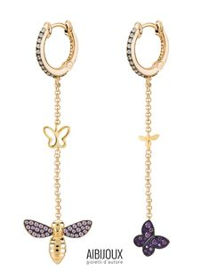 Orecchini pendenti lunghi Kurshuni, con charm a forma di ape e farfalla. Argento 925 placcato oro giallo Personalized Items, Design, Gold, Design Comics