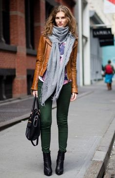 Deep green skinny with brown leather coat and grey scarf