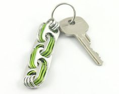 Light green soda tab crosslink keychain, pop tab keyring, upcycled keychain, recycled keychain, pull tab keychain, soda can top keychain