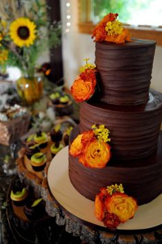 Chocolate wedding cake with raspberry filling