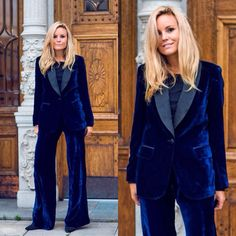 """""""Cool cat @sofifahrman1 in our Alma silk velvet tuxedo! Yes please, let us wear this to the next tux party! Available in black, rouge."""