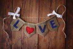 LOVE Burlap, Denim & Lace Banner, photography prop