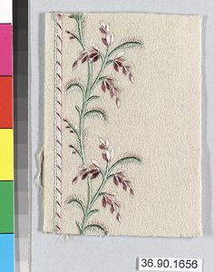 Sample Date: early 19th century Culture: French Medium: Silk on wool Dimensions: L. 3 3/4 x W. 2 3/4 inches 9.5 x 7 cm Classification: Textiles-Embroidered Credit Line: Gift of The United Piece Dye Works, 1936