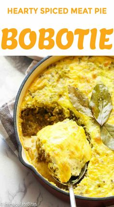 Bobotie - hearty and comforting South African dish made primarily of curried minced meat topped with milk and egg mixture and baked to perfection. Mince Recipes, Beef Recipes, Cooking Recipes, Mince Meals, Jamaican Recipes, Curry Recipes, Healthy Recipes, South African Dishes, South African Recipes