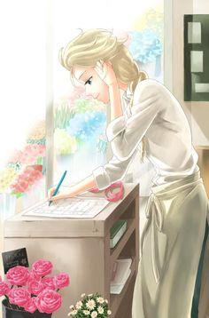 Elsa in a florist shop? Frozen Disney, Elsa Frozen, Disney Au, Frozen Film, Frozen Art, Film Disney, Disney And Dreamworks, Disney Princess Drawings, Disney Princess Art
