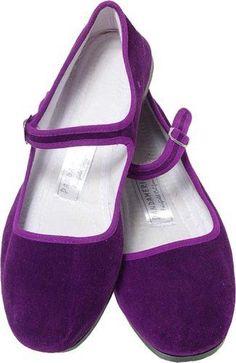 Chinese Velvet Shoes- Purple Maryjanes