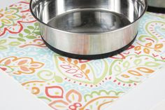 Large Pet-Mat (Placemat for your Dog's Bowl) White with colorful flowers: Large Size. $16.00, via Etsy.
