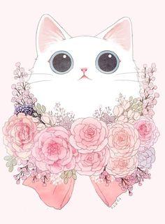 New Cats Love Illustration Kitty 34 Ideas Cute Cat Wallpaper, Kawaii Wallpaper, Animals Watercolor, Image Deco, Illustration Art, Illustrations, Kawaii Cat, Cat Tattoo, Crazy Cats
