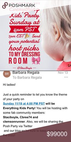 Posh Party Alert 🎉 Need potential host picks! Yay!! Let's 🎉 Party!! Your closet must be Posh Compliant to qualify for a host pick. Please send your items to my dressing room for consideration. 😘🎀👭🙍‍♂️👼🤰 Other