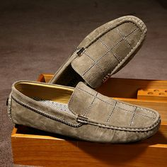 US $29 Luxury Men Suede Loafers Slip-on Gentlemen Moccasins Soft Flat Driving Loafers Boat Shoes Letters Red Blue Khaki