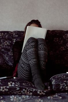 Comfy printed sweater leggings for kicking it on the home front with a maroon tunic