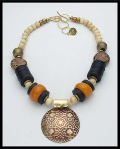 MOROCCAN+TILE++Tibetan+Amber++Handcast+by+sandrawebsterjewelry