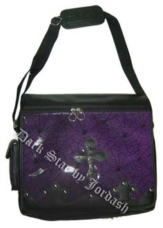 Dark Star - Leather Look Messenger Bag w/ Cobweb Panel - Purple Gothic Accessories, Fall Accessories, Fashion Accessories, Fashion Clothes, Plus Size Gothic Dresses, Goth Glam, Angel Outfit, Dark Star, Gothic Outfits