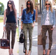 This pairing of a blue denim shirt and olive camouflage skinny pants is pulled together and yet it's casual enough and ready for anything. For a more elegant twist, why not introduce black leather pumps to the equation? Camo Outfits, Jean Outfits, Casual Outfits, Summer Outfits, Camping Outfits, Camouflage Fashion, Camo Fashion, Fashion Outfits, Camouflage Jeans