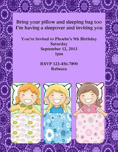 Girls Sleep Over Sleepover Printable Birthday Invitation DIY Digital Print