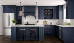 Navy Blue Kitchen Cabinets, Kitchen Cabinets Materials, Navy Cabinets, Shaker Kitchen Cabinets, Kitchen Cabinet Colors, Painting Kitchen Cabinets, Repainted Kitchen Cabinets, Kitchen Cabinets Designs, Colorful Kitchen Cabinets