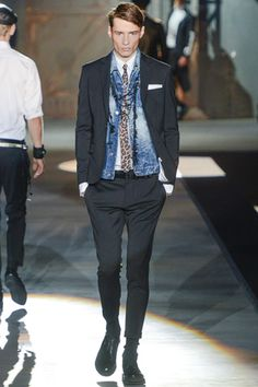 Dsquared² Spring 2013 - LOVE the denim vest under the blazer, really breaks up a traditional suit.
