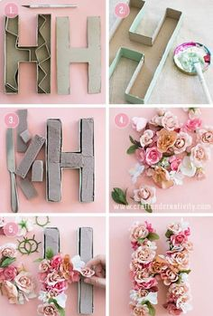 Do It Yourself Solar Electricity For Your House 10 Summer Diy Projects You Must Try Tutorials Cute Diy Crafts Floral Letters Floral Diy Wonder Forest Paper Mache Letters, Diy Letters, Cardboard Letters, Nursery Letters, Decorative Letters For Wall, Baby Girl Letters, Letter Wall Art, Photo Letters, Letter Crafts