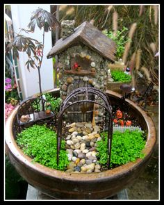 miniature halloween scene arbor brick path Photos of our Customers D I Y  Mini Fairy Gardening Projects