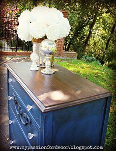 Annie Sloan's Napoleonic Blue. Repurpose dresser for Ryan.