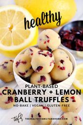 This healthy plant-based Gluten-Free Vegan No-Bake Cranberry Lemon Bliss Ball Tr. , , This healthy plant-based Gluten-Free Vegan No-Bake Cranberry Lemon Bliss Ball Truffles recipe is so easy to make with only 8 clean, real food ingredie. Desserts Végétaliens, Healthy Dessert Recipes, Gourmet Recipes, Whole Food Recipes, Whole Food Desserts, Campfire Desserts, Easter Desserts, Paleo Recipes, Baking Recipes