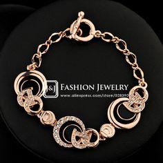 18K Rose Gold Plated With austrian Rhinestones Unique Design D Letter Women Bracelet  (JingJing GB012)