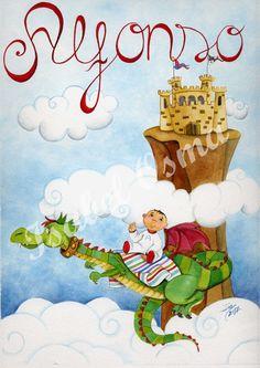 Dragón y niño volando  Ilustración de Isabel Osma