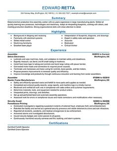 assembly resume samples line worker resumeg writing tips pinterest templates and cover - Sample Resume For Assembly Line Worker