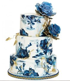 Wedding Cakes Blue and Gold Rose Hand-Painted Wedding Cake by Nadia Beautiful Wedding Cakes, Gorgeous Cakes, Pretty Cakes, Amazing Cakes, Unique Cakes, Creative Cakes, Elegant Cakes, Painted Wedding Cake, Cake Wedding