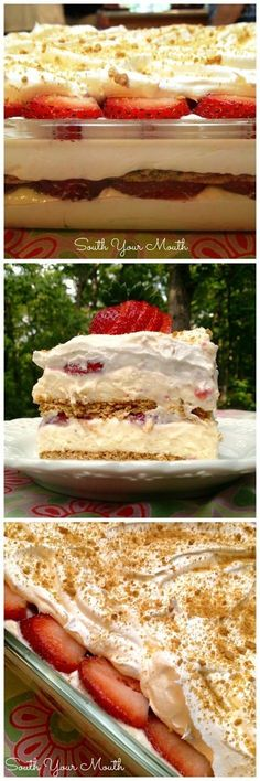 """Strawberry Cream Cheese Icebox Cake """"This is a layered dessert with graham crackers, a no-bake cheesecake filling and fresh strawberries. It's crazy easy to make so delicious!"""" Use GF Graham crackers. Graham Crackers, Graham Cracker Dessert, Layered Desserts, How Sweet Eats, Sweet Recipes, Fun Recipes, Desert Recipes, Recipe Ideas, Love Food"""