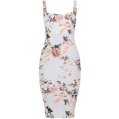 Grey Floral Square Neck Tie Back Midi Dress (100 BRL) ❤ liked on Polyvore featuring dresses, floral-print dresses, grey midi dress, flower print dress, floral day dress and floral dresses