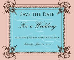 """Save the date"" card for a wedding. Themes: Victorian, traditional, ornate flourishes. Layout and design: Adobe Illustrator. Typography: Palace Script MT, Trajan Pro 3."