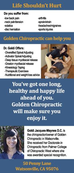 Golden Chiro rack card back