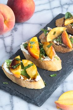 Peach Crostini with Whipped Feta and Honey Balsamic - HOW can you say yummmmmmy???? just like this I would suppose!