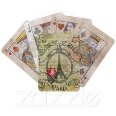 Custom Playing Card Decks ~ Paris Eiffel Tower & Red Rose Deck Of Cards from Zazzle.com