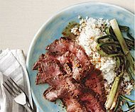 Broiled Flank Steak and Scallions