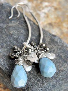 Peruvian Nights earrings Pyrite Blue Opal by ThePurpleLilyDesigns, $75.00