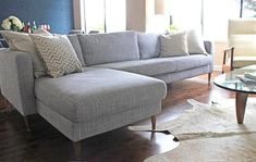 Pop Sugar shows us that by simply adding mid-century legs to any Ikea sofa, the piece goes from blah to wow. And Uncle Bob's Workshop makes custom legs just for Ikea couches.
