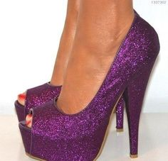 Purple GLITTER HEELS Perfect for Prom by ashleybrooks1984 on Etsy ...