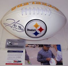 Hines Ward Autographed Hand Signed Pittsburgh Steelers Logo Football - PSA/DNA
