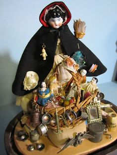 Antique China Head Peddler Doll, With Her Basket Of Wares.