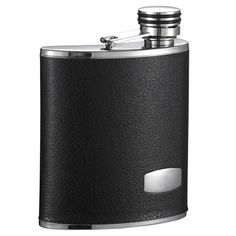 Visol Products Zen Leather Stainless Steel Wide Mouth 6 Oz. Flask
