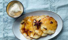 Nigel Slater's marzipan hazelnut cake and roast pineapple with passionfruit frozen yogurt recipes
