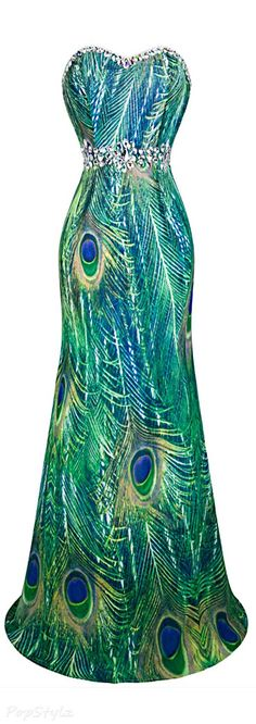 Peacock form-fitting gown with rhinestone trim.