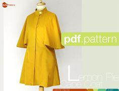 Patron de couture PDF femmes Cape manteau tarte par WafflePatterns
