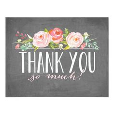 Chalkboard Rose Garden   Thank You Card